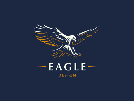 L'aigle volant. Emblème de vecteur.