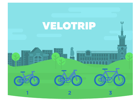 Bicycles of different sizes against the background of the city. Vector illustration.