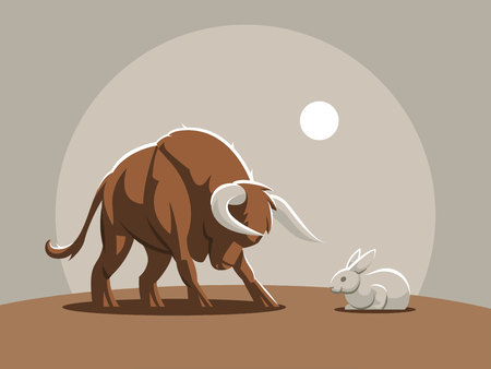A young bull, a calf is attacking a rabbit. Vector illustrtion. Vettoriali