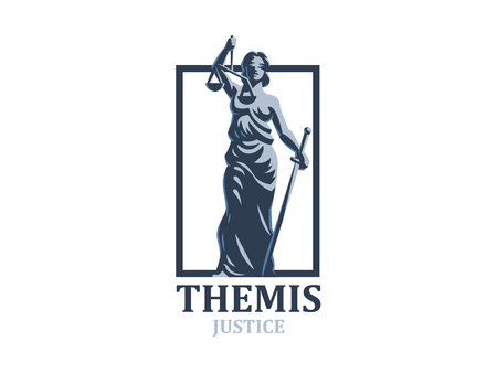 Die Göttin der Gerechtigkeit Themis. Einstellen. Vektorillustration