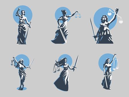 Die Göttin der Gerechtigkeit Themis. Einstellen. Vektorillustration Vektorgrafik