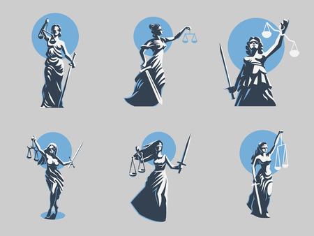 The goddess of justice Themis. Set. Vector illustration Çizim