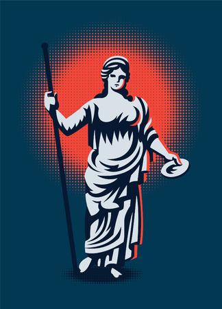 The Greek goddess Hera or Juno. Vector illustration.