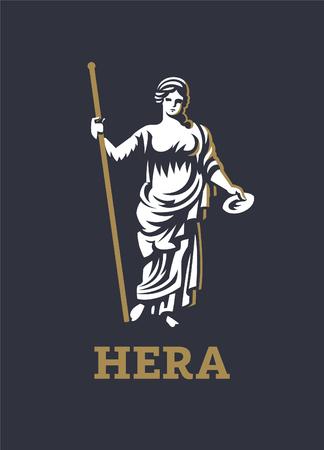 La diosa griega Hera o Juno. Ilustración vectorial.
