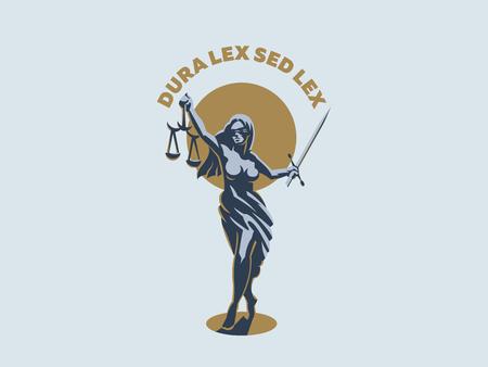 La dea della giustizia Themis. Impostato. Illustrazione vettoriale