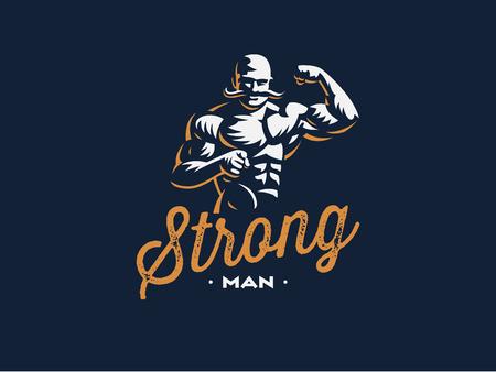 Een vintage sterke man met een snor. Vector illustratie.