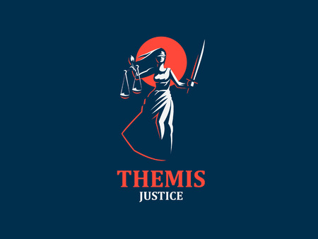 The goddess of justice Themis. Set. Vector illustration Vettoriali