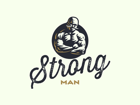 A vintage strong man with a mustache. Vector illustration.