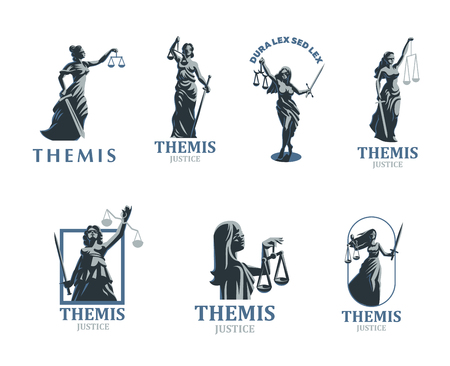 The goddess of justice Themis. Set. Vector illustration Stock Illustratie