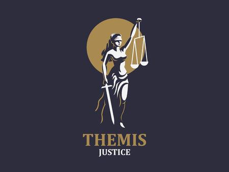Die Göttin der Gerechtigkeit Themis. Satz. Vektor-Illustration Vektorgrafik