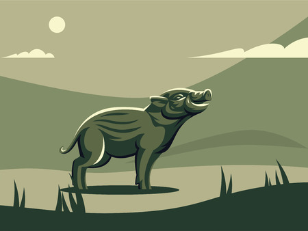 Hatchling of wild boar. Vector illustration. Illustration