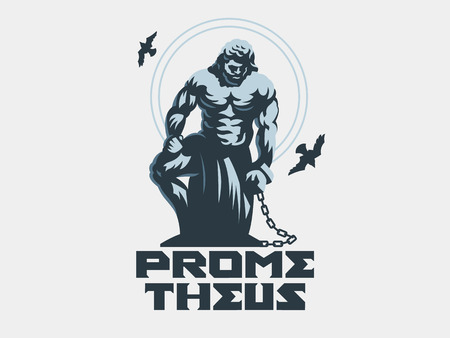 Prometheus chained with a chain. Vector illustration