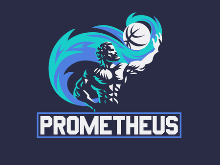 Prometheus and a sports ball. Sports emblem. Vector illustration Illustration
