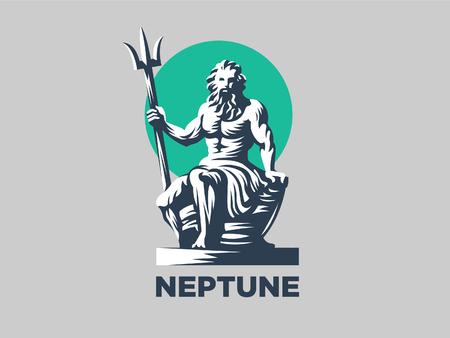 Statua di Poseidone o Nettuno con tridente. Illustrazione vettoriale Vettoriali