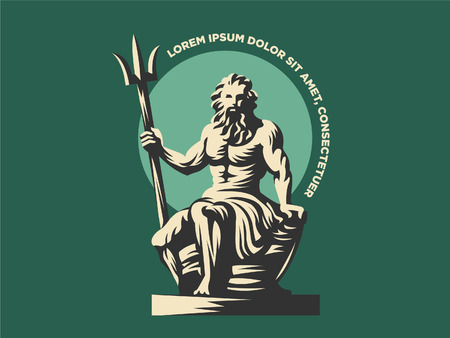 Statue of Poseidon or Neptune with a trident. Vector illustration Illustration