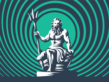 Statue of Poseidon or Neptune with a trident. Vector illustration Stock Illustratie