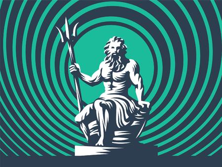 Standbeeld van Poseidon of Neptunus met een drietand. Vector illustratie