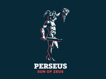 Perseus with the head of Medusa. Vector emblem. Archivio Fotografico - 107645598