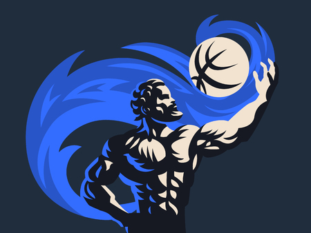 Prometheus and a sports ball. Sports emblem. Vector illustration Çizim
