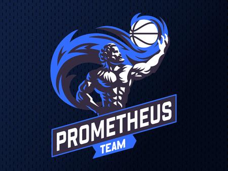 Prometheus and a sports ball. Sports emblem. Vector illustration Stock Vector - 107645603