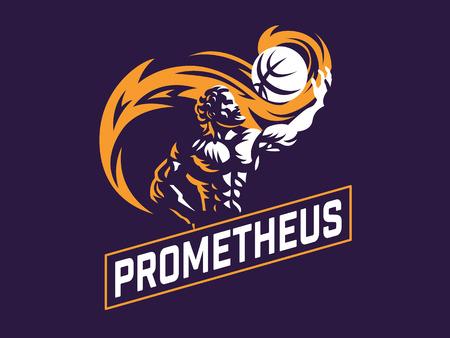 Prometheus and a sports ball. Sports emblem. Vector illustration Stock Vector - 107645605