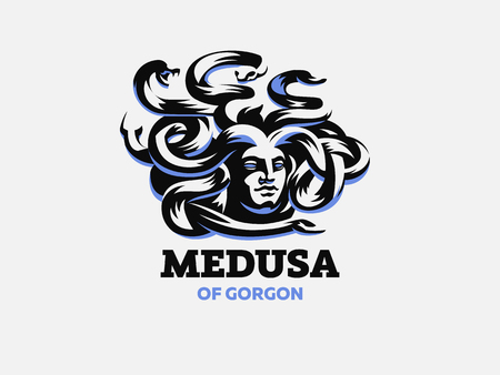 Medusa of the gorgon. Logo.  Vector illustration.