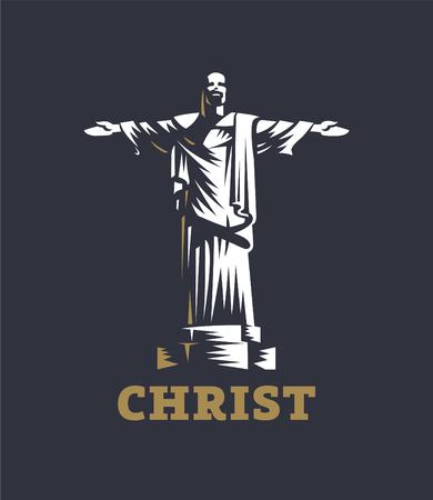 Christ redeemer statue brazil. Vector illustration. Vetores
