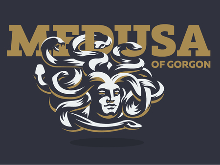 Medusa of the gorgon. Logo.  Vector illustration.