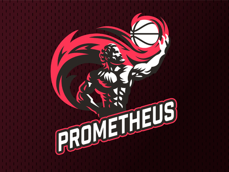 Prometheus and a sports ball. Sports emblem. Vector illustration.