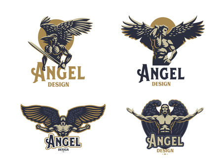 Angel man. Wings. Logo. Set of vector emblems.