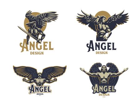 Angel man. Wings. Logo. Set of vector emblems.