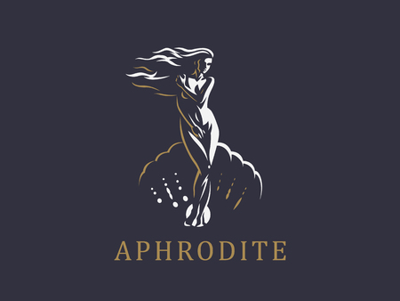 Aphrodite or Venus in the shell. Logo. Vector emblem. 写真素材 - 107645751