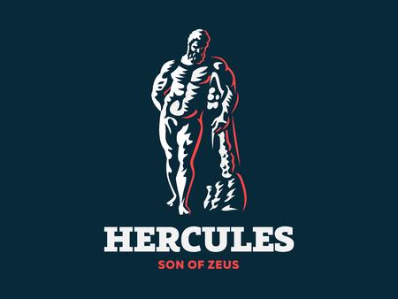 La statua di Ercole. Logo. Illustrazione vettoriale.