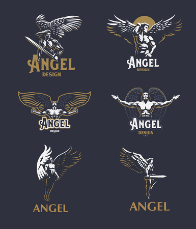 Angel man with Wings. Logo. Vector emblem. Vettoriali