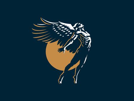 Hombre ángel con alas. Logo. Emblema de vector.