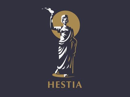 Diosa Hestia o Vesta con una antorcha en sus manos. Emblema de vector. Ilustración de vector