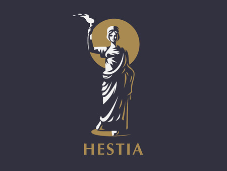 Goddess Hestia or Vesta with a torch in her hands. Vector emblem. Vettoriali