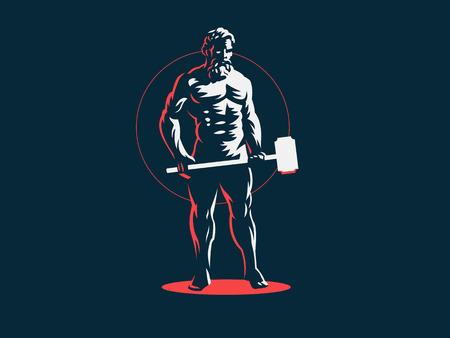 God Hephaestus holds a hammer in his hands. Vector emblem. Stock Vector - 107645801