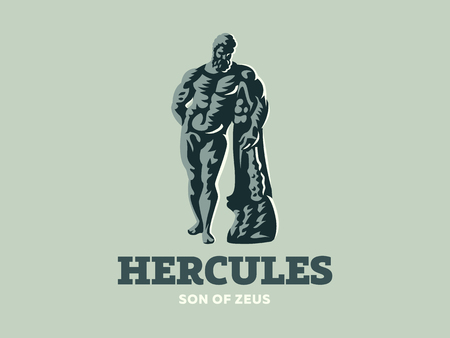 The statue of Hercules. Logo. Vector illustration.