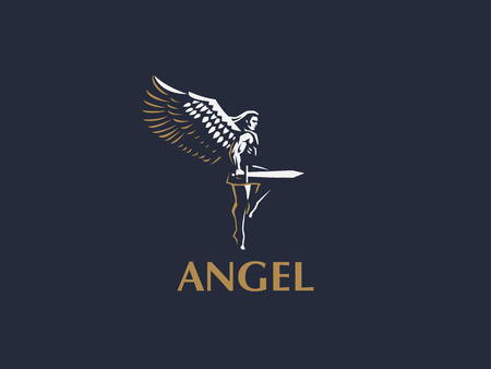 Angel man with Wings. Logo. Vector emblem. Ilustrace