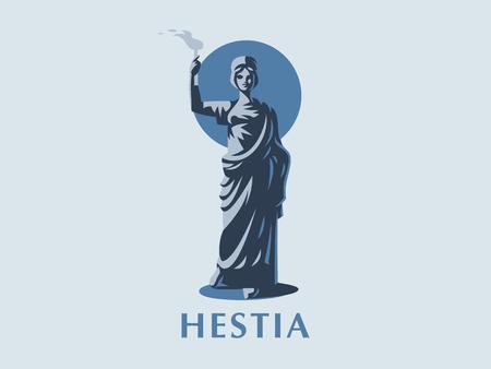 Goddess Hestia or Vesta with a torch in her hands. Vector emblem. Illustration