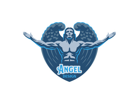 Angel man with Wings. Logo. Vector emblem. Illustration