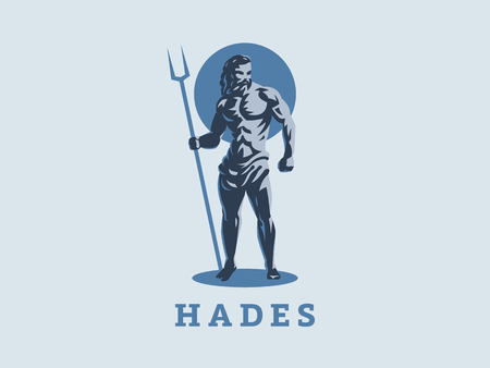 God Hades or Pluto. Logo. Vector emblem. Ilustracja