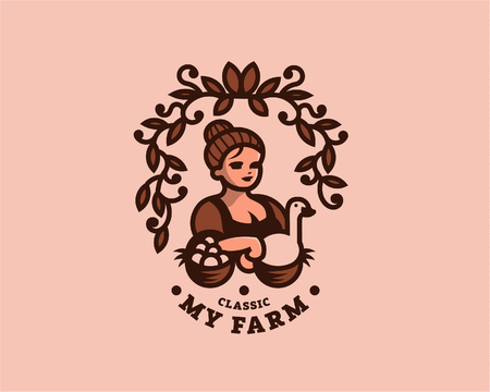 Vintage woman farmer with eggs and goose in the basket. Vector illustration.