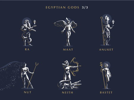 Egyptian gods. Set of vector emblems. Vector illustration.