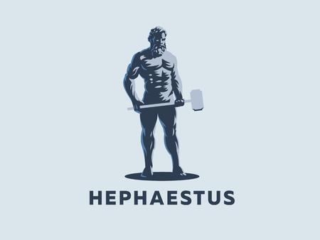 God Hephaestus holds a hammer in his hands. Vector emblem. Stock Vector - 107645948