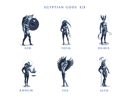 Ägyptische Götter. Satz Vektorembleme. Vektorillustration. Vektorgrafik