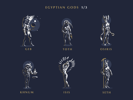 Egyptian gods. Set of vector emblems. Vector illustration.