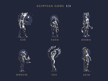 Dioses egipcios. Conjunto de emblemas vectoriales. Ilustración vectorial. Ilustración de vector
