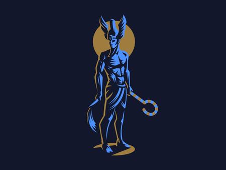 The Egyptian god Osiris. Logo. Vector Emblem.